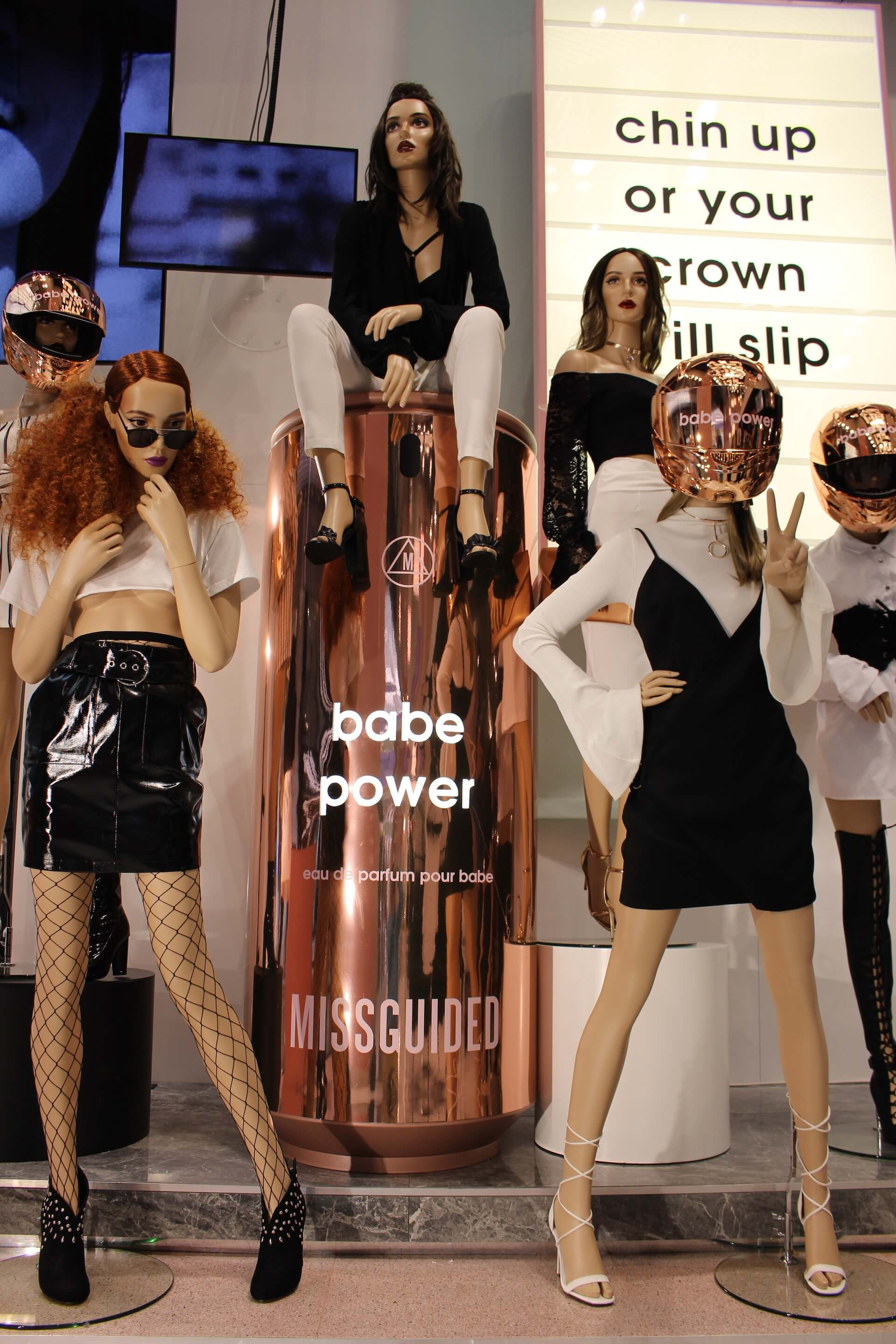 missguided babe power fashion instore display bespoke prop manufacture visual merchandising
