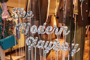 Matches Fashion string letters bespoke props retail design window display instore display