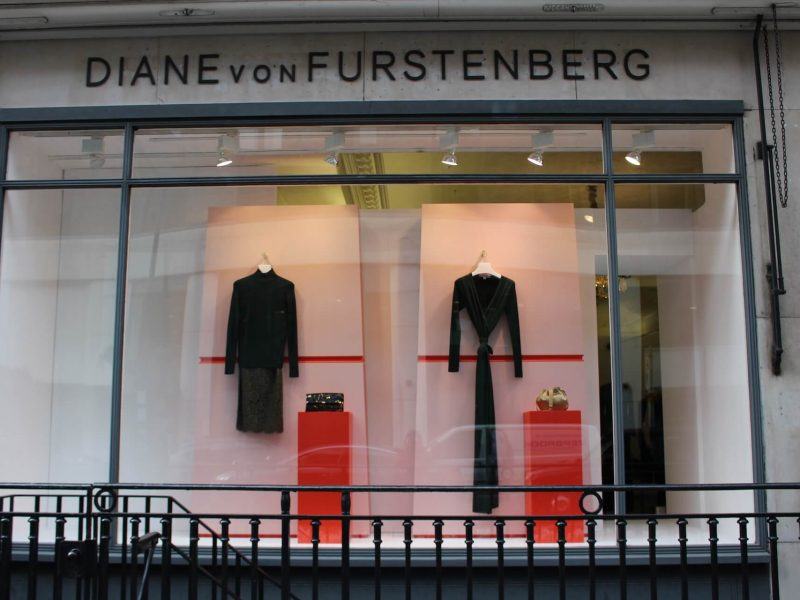 Diane Von Furstenberg christmas 2016 window design visual merchandising retail design window display bespoke props prop manufacture