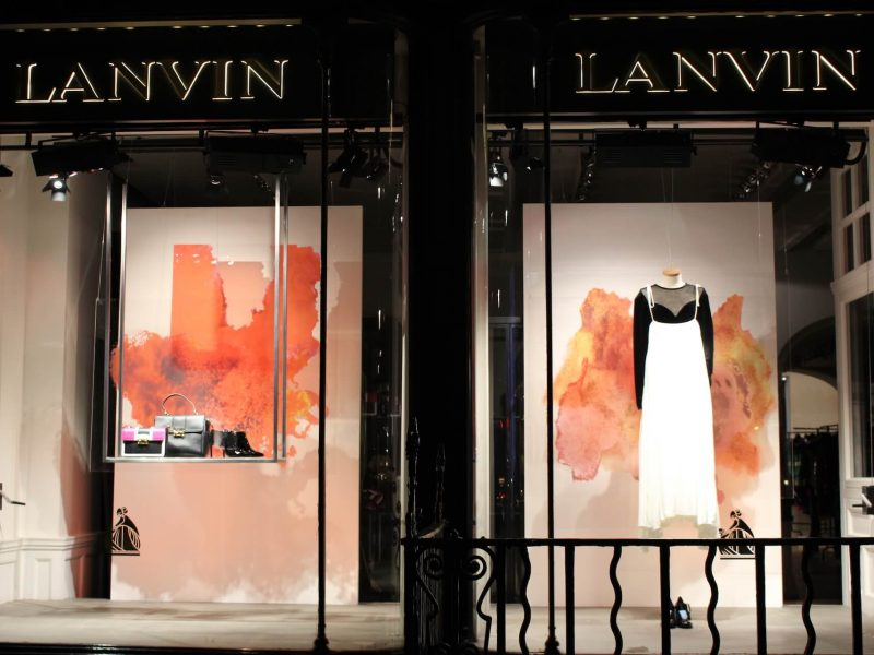 Lanvin window display installation retail design print visual merchandising bespoke props prop manufacture