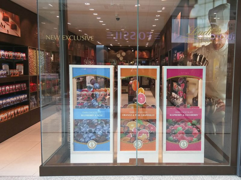 Lindt boutique windows fruit sensations new launch bespoke prop manufacture visual merchandising plinth production