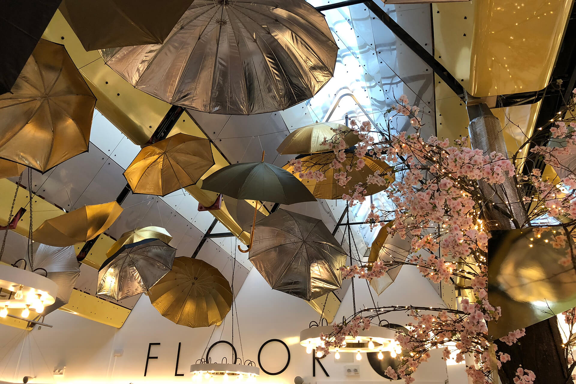 Harvey Nichols – Mary Poppins, Christmas, visual merchandising, display, umbrellas, fifth floor